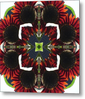 Metal Print featuring the digital art Red Sunflowers With Blue Center by Trina Stephenson