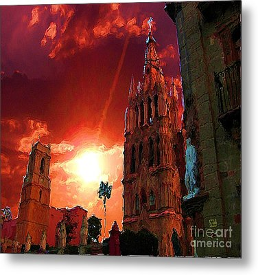 Metal Print featuring the photograph Red Sunset Over The Paroquio by John  Kolenberg
