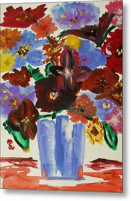 Red Table- Lavender Vase Metal Print by Mary Carol Williams