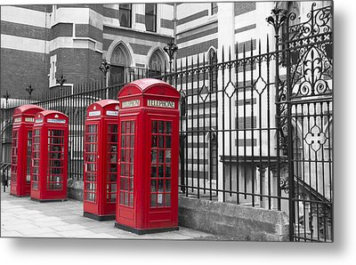 Red Telephone Boxes Metal Print by David French