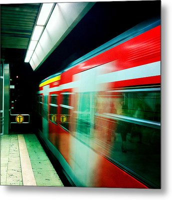Red Train Blurred Metal Print by Matthias Hauser