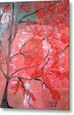 Red Tree Metal Print by Pretchill Smith