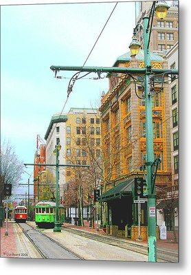 Metal Print featuring the photograph Red Trolley Green Trolley by Lizi Beard-Ward