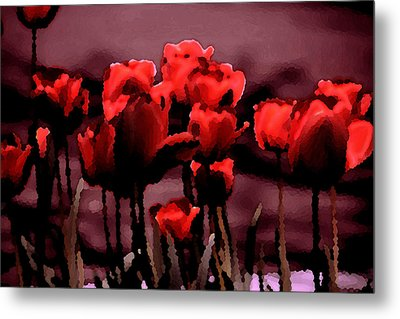 Red Tulips At Dusk Metal Print by Penny Hunt