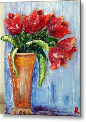 Red Tulips In Vase Mini Sculpture Metal Print