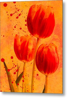 Metal Print featuring the photograph Red Tulips by James Bethanis