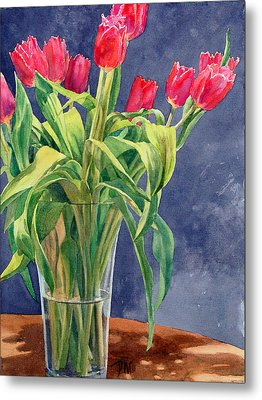 Red Tulips Metal Print by Peter Sit