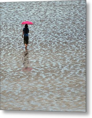 Metal Print featuring the photograph Red Umbrella  by Lynn Hughes