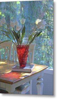 Metal Print featuring the photograph Red Vase With Flowers In Window by Michael Dohnalek