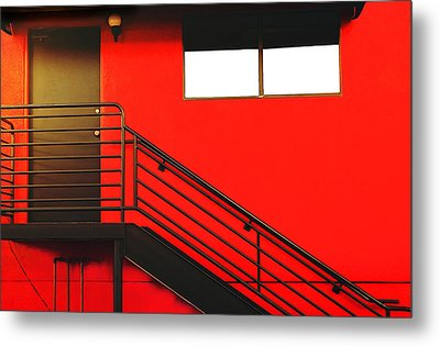 Metal Print featuring the photograph Red Wall by James Bethanis