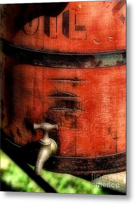 Red Weathered Wooden Bucket Metal Print by Paul Ward