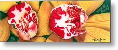 Metal Print featuring the painting Red White And Yellow by Dan Menta