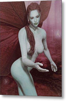 Metal Print featuring the painting Red Winged Fae by Maynard Ellis
