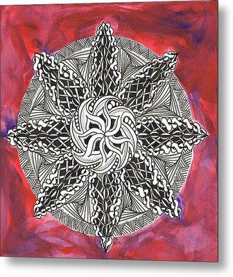 Red Zendala Metal Print