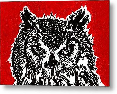 Redder Hotter Eagle Owl Metal Print by Julia Forsyth