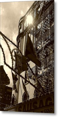 Reflecting In Little Italy Metal Print by Catie Canetti
