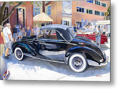 Reflecting On A Mercedes Metal Print by Mike Hill