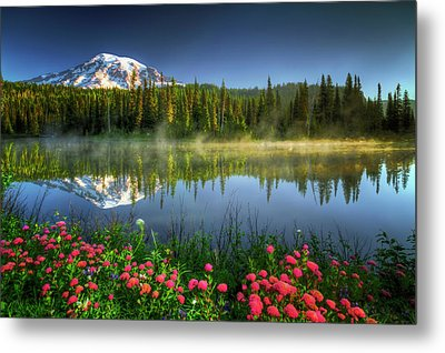Reflection Lakes Metal Print by William Lee