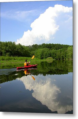 Reflection Of A Kayaker On The Merrimack Metal Print by Rick Frost