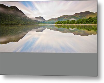 Reflection Of Mountains And Trees On Lake Metal Print by John Ormerod