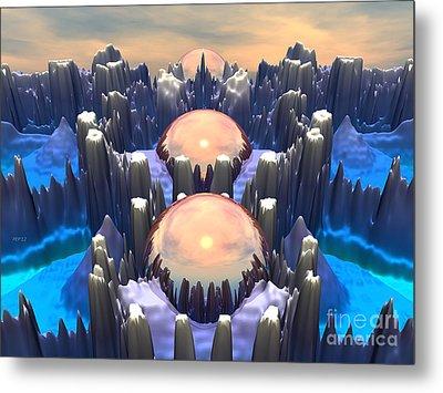 Reflection Of Three Spheres Metal Print