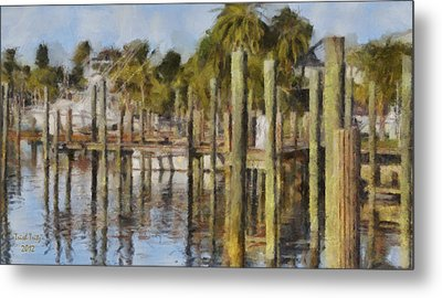 Reflections At Fort Pierce Metal Print by Trish Tritz