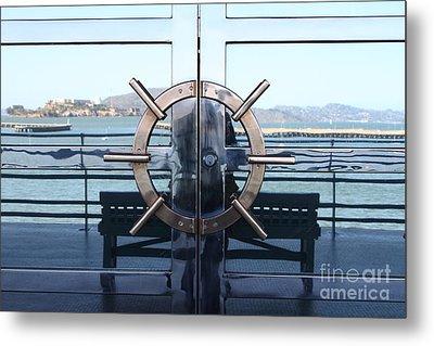 Reflections Of Alcatraz Island At The Maritime Museum In San Francisco California . 7d14080 Metal Print