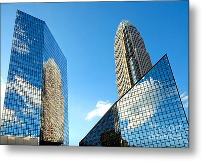 Reflections Of Bank Of America Tower Metal Print by Patrick Schneider
