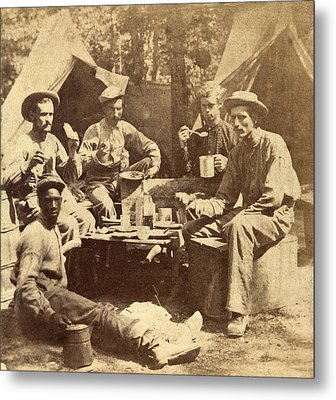 Relaxed Scene Of Soldiers From The Army Metal Print by Everett