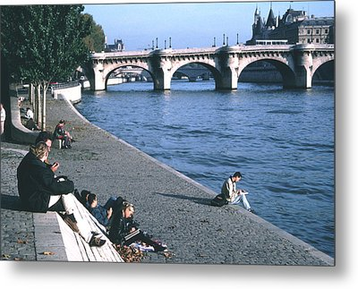 Relaxing Along The Seine Metal Print by Tom Wurl