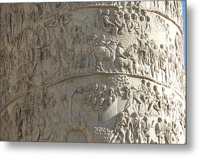 Relief. Detail View Of The Trajan Column. Rome Metal Print by Bernard Jaubert