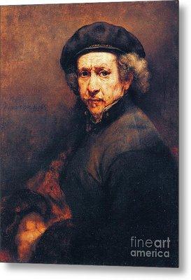 Rembrandt Self Portrait Metal Print by Pg Reproductions