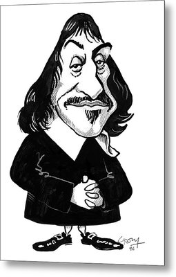 Rene Descartes, Caricature Metal Print by Gary Brown