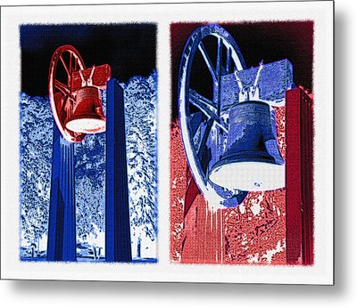 Replica Of Liberty Bell - Americana Rwb Diptych - Inverted Metal Print by Steve Ohlsen