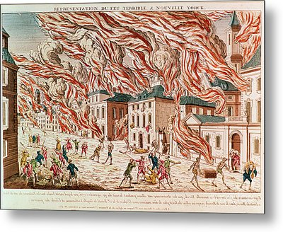 Representation Of The Terrible Fire Of New York Metal Print by French School