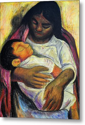 Reproduction Of Diego Rivera's- Mother And Child Metal Print by Duwayne Washington