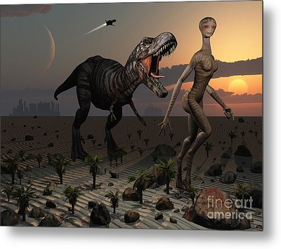 Reptoids Tame Dinosaurs Using Telepathy Metal Print by Mark Stevenson