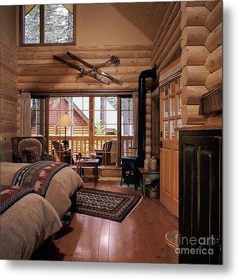 Resort Log Cabin Interior Metal Print by Robert Pisano