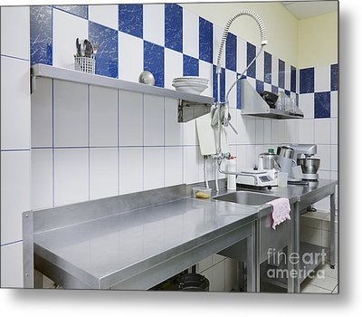 Restaurant Kitchen Sink And Counters Metal Print by Magomed Magomedagaev