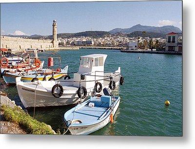 Rethymnon Harbour In Crete  Metal Print by Paul Cowan