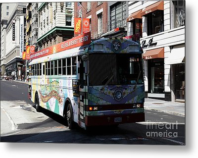 Retro 60s San Francisco Haight Ashbury Magic Bus - 5d18009 Metal Print by Wingsdomain Art and Photography