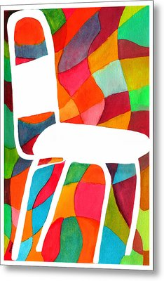 Retro Dinette Chair Metal Print by Paula Ayers