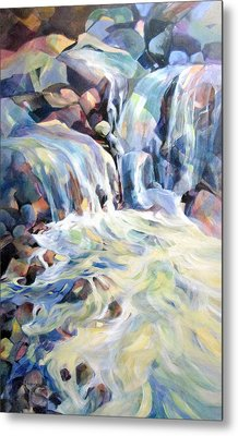 Metal Print featuring the painting Rhapsody In Blues And Greens by Rae Andrews