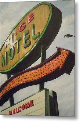 Metal Print featuring the painting Ri-ge Motel by James Guentner