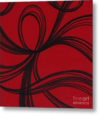 Ribbon On Red Metal Print