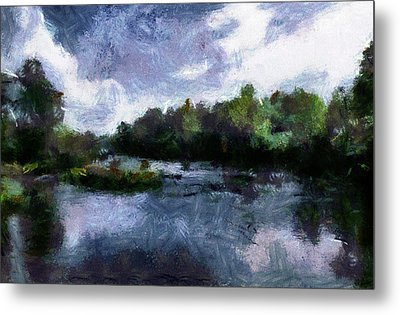 Metal Print featuring the painting Rideau River View From A Bridge by Mario Carini