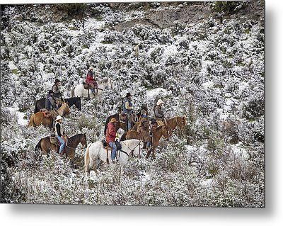 Riders In The Snowy Sage Metal Print by Judy Deist