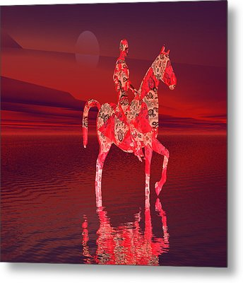 Riding At Dusk Metal Print by Matthew Lacey