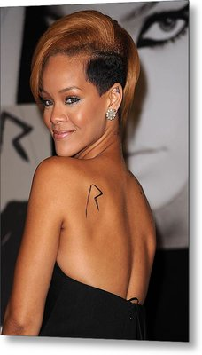 Rihanna At In-store Appearance Metal Print by Everett