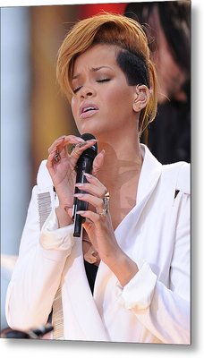 Rihanna On Stage For Good Morning Metal Print by Everett